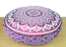 35'' Round Mandala Floor Pillow Bed Cover Ottoman Pouf with Zipper Pink Ombre
