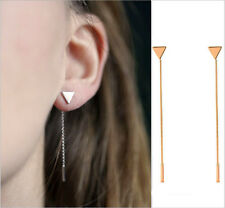 Rhodium Gold Plated Triangle Long Chain Drop Earrings Butterfly Fixing Punk/Gift
