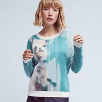 Anthropologie Lauren Carlson Walcott Farm Animal Llama Sweater Teal Blue Small