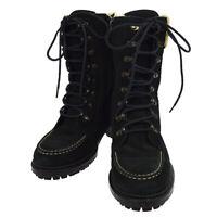 CHANEL CC Logos Short Boots Shoes Black Suede #36 1/2 Vintage Authentic A46739b