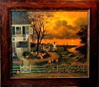 Charles Wysocki Supper Call Fall Pumpkin Canvas Art-Framed