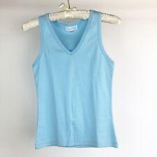 Unisex Toddler Kids Size Medium Blue Cotton Tee T-Shirt Plain V Neck