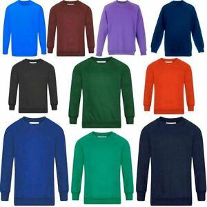 Adults Kids Crew Neck Plain Sweatshirt Girls Boys School Office Wear Jumper Top