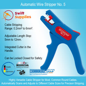 Weicon Automatic Wire Stripper No. 5 - Cable Stripping with an Integrated Cutter