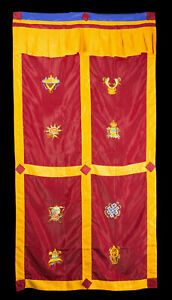 Hanging Door Tibetan Red Embroidery Symbols Auspicious 179x95cm 499
