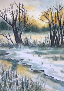 Original Aquarell Landschaft Winter Winterende Bach 21 x 29 cm
