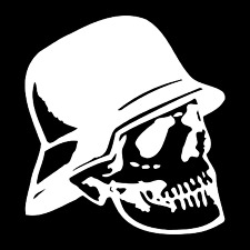 German WW2 Skull Helmet Car Truck Window Wall Laptop Vinyl Decal Sticker.