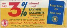 Michigan National Bank Savings Account Vintage Advertising Blotter