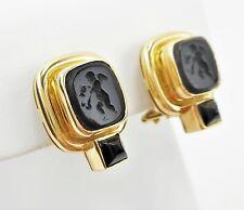 ELIZABETH LOCKE 18K Venetian Glass Intaglio Onyx Putto Earrings