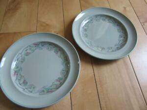 """VTG 50s SPODE FLEMISH GREEN SCROLL TWO 9"""" SALAD LUNCHEON PLATES"""