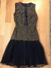 Marchesa Voyage 2 Dress Army Green Navy Blue Lace Tulle Pleated Sleeveless Dark