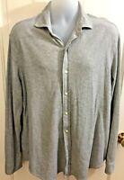 RALPH LAUREN POLO Mens Gray Jacquard or Waffle Knit Button Down Shirt XL EUC