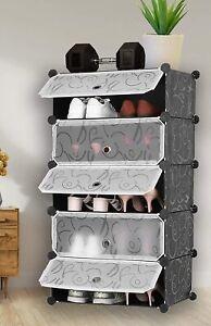 Large 5-Cube DIY Shoes Rack Portable Interlocking Plastic Cabinet Bedroom