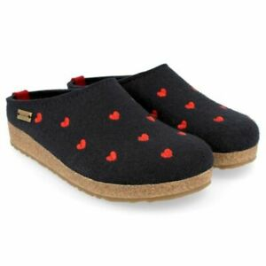 New Haflinger Grizzly Cuoricini Wool Navy Heart Slip On Mule Slipper Clog 36 6