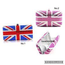 Multi color Evening handmade luxury UK Flag crystal clutch purse Bridal Prom bag