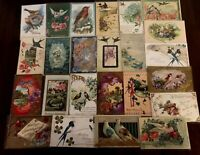 Pretty~Lot of 25  Vintage Greetings Postcards with *BIRDS~Bird-in sleeves-c241