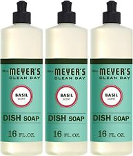 Mrs. Meyer's Clean Day Liquid Dish Soap, Pack of 3, Basil Scent 16oz
