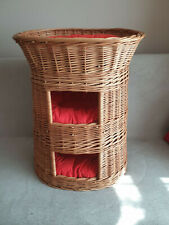 Cat Bed Wicker Oval 3 Tier Basket House Hand Crafted 3 Cushions Provided