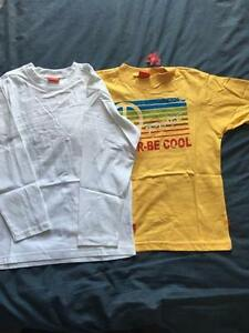 NEW BOY'S 2 PACK WHITE AND YELLOW PATTERN T SHIRTS SIZES 8-9 12-13 14-15 16 YEAR