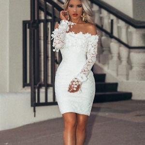 Women Off Shoulder Dress Lace Party Slim Short Mini Dress Wedding Prom UK