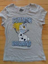 Disney Women's Juniors Xl Gray Frozen Graphic Tee Shirt Top Olaf Summer Dreaming