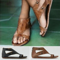 Gladiator Sandals Women Summer beach Flat Leather Shoes Rome Sandals shoes US11