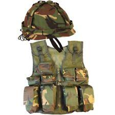 BOYS ARMY SOLDIER OUTFIT ASSAULT VEST & HELMET FANCY DRESS COSTUME KIDS DPM CAMO