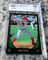 MIKE TROUT 2011 Bowman Rookie Card RC Logo BGS BCCG 10 Angels HOT ROY AS MVP $$