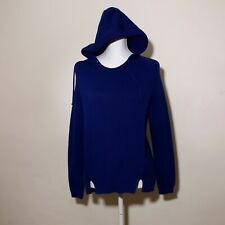 Whistles Blue Hooded Winter Jumper Size S UK 8 10 Pockets Loose Relaxed Cotton