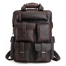 "Men's Real Leather 17"" Laptop Bag Backpack Large Hiking Travel Camping Carry On"