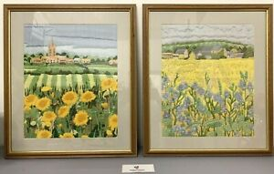 2 x Framed Tapestry Pictures Hand-Stitched Embroidery Fields Village #3556