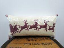 "Pottery Barn SANTA SLEIGH Bell Crewel Embroidered Lumbar Pillow 24"" x 12"" NEW"