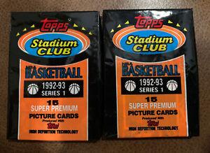 1992-93 Topps Stadium Club Series 1 Basketball Super Premium Sealed 2 packs