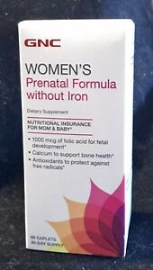 GNC Women's Prenatal Formula without Iron Supplement 60 CAPLETS-30 DAY EXP 01/22