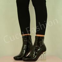 NEW WOMENS CLEAR BLOCK HIGH HEEL LADIES ANKLE BOOTS FASHION SHOES SIZE UK 3-8