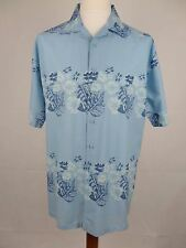 Vtg S-Sleeve Blue Loop Collar Tiki Flower Hawaiian Shirt -XL- DZ03