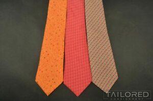 LOT of 3 - HERMES 5436 FA 7903 MA 7886 MA Orange Geometric Silk Luxury Ties