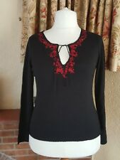 BLACK RED EMBROIDERED TIE NECK JUMPER BY ANNE BROOKS SIZE 16 PETITE - WINTER