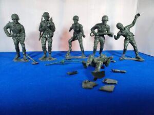 "VINTAGE 1963 Louis Marx 5"" Green Plastic WWII 6 Military Soldiers USMC Marines"