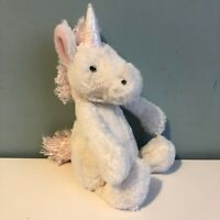 Jellycat Small White & Pink Bashful Unicorn Soft Toy Plush Shimmery Horn