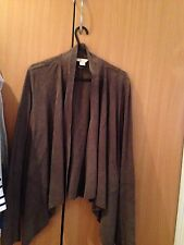 Lovely brown real suede leather waterfall style Monsoon jacket - UK 10 - S