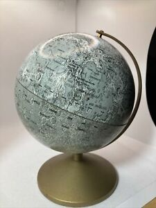 """VINTAGE THE MOON REPLOGAL Meredith Metal GLOBE 6"""" Apollo Landing Site w Stand"""