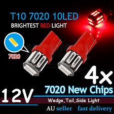 4x RED T10 LED W5W Car Wedge Tail Side Park Light Blub Super Bright 7020SMD 12V