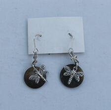 Cute silver coloured metal butterfly dangle earrings