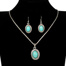 Retro Oval Tibetan Silver Turquoise Pendant Necklace Earrings Set
