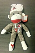 New Fiesta Traditional Sock Monkey Embroidered Love in Red and White