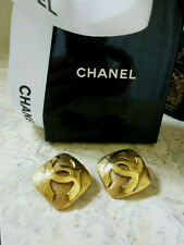 CHANEL Double CC Logo Gold-Tone Earrings Clip-On Fall/Winter 1992-93 Collection