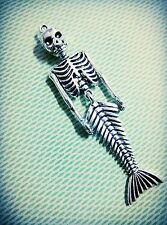 Large Mermaid Skeleton Pendant Antiqued Silver Moveable Pendant Fairy Tale Charm