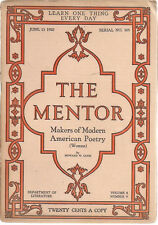 THE MENTOR #205 illustrated Magazine June 15 1920 Poets: Wilcox Peabody Teasdale