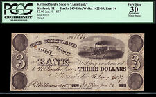 $3  1837  Kirtland Safety Society ANTI Banking Co.  Rust 14  PCGS 30 A
